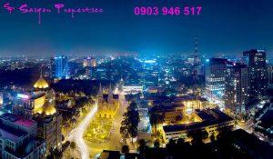 Tenants enjoy a beautiful view of Saigon by night from Saigon Pavillon apartment